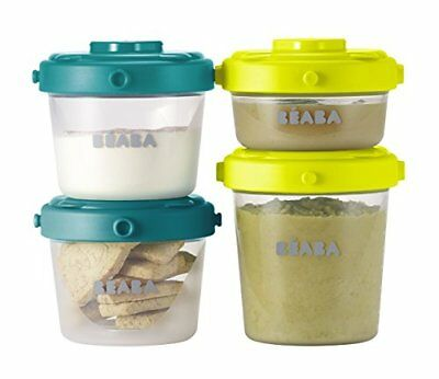 BEABA Clip Containers, Set of 6, 2oz & 4 oz for snacks and baby food, Pea...
