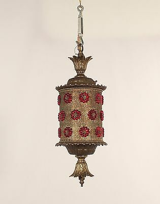 Antique Filigree Lantern w/ Red Czecho Rosettes circa 1960's
