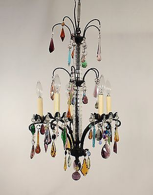 Antique 4 Light Black Wrought Iron Chandelier w/ Hand Cut Crystal Column