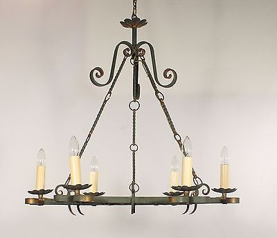 Antique French Hand Forged Green Wrought Iron with Gold Accents Chandelier