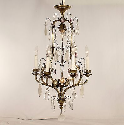 Antique Spanish 9 Light Versailles Bronze Chandeliers w/ Rock Crystal