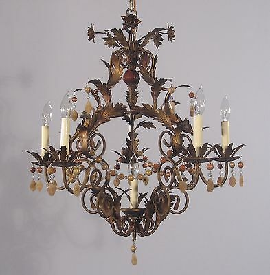 Antique Italian 5 Light  Wrought Iron Chandelier w/ Beads