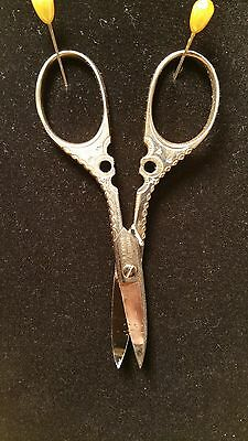 Scissors Antique Ornate Sewing / Manicure GERMANY A.J. Jordan Cutlery Co 2 tone