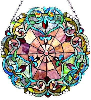 Stained Glass Panel for Window Tiffany Style Suncatchers Victorian Vintage Look