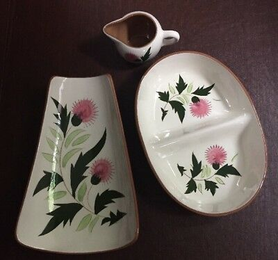 3 STANGL vintage pottery THISTLE vegetable dish creamer divided relish dish