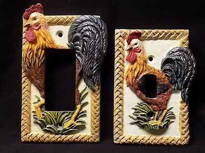 Set of 2 Rare Rooster light switch and Outlet Covers