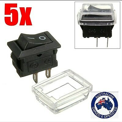 5Pcs 2pin On/Off Rectangle Waterproof Rocker Switch and cover