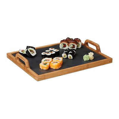Bamboo Serving Tray Board with Handles and Removable Slate, Natural Brown