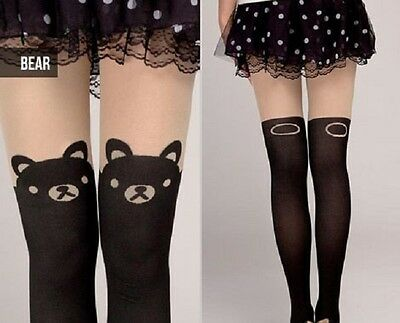 New Sexy Women Bear Mock Knee High Tights Tattoo Hosiery  Pantyhose Stockings