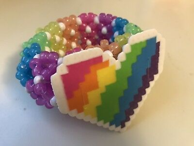 Glow In The Dark Rainbow 3D Kandi cuff EDC, Raves, EDM