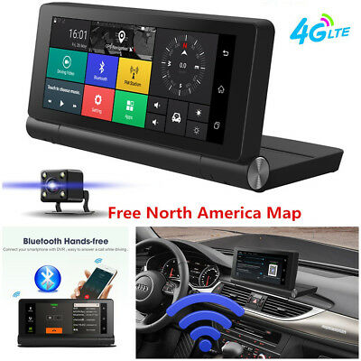 """6.86""""Touch Screen Android 4G Wifi Bluetooth Car DVR GPS NAV Dual Camera Recorder"""