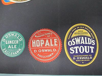 3x D. Oswald's of Eaglehawk Beer Labels