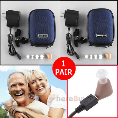 2x Rechargeable Digital Mini In Ear Hearing Aid Adjustable Tone Voice Amplifier