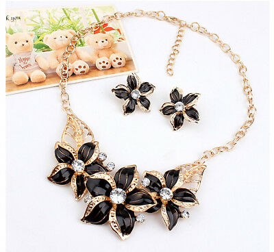 Big Flower Design Statement Earings Necklace Sets Women Gold Plated Jewelry Set