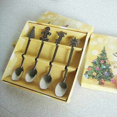4pcs Stainless Steel Christmas Spoons Set Ice Cream Coffee Soup Teaspoon CatBear