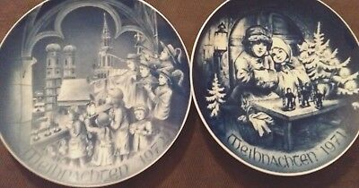"2 Christmas WEIHNACHTEN BAREUTHER BAVARIA Germany 8"" Plates"