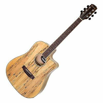 Martinez 40 Series Mosaic Spalted Maple Dreadnought Acoustic-Electric Guitar