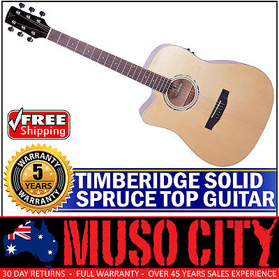 New Timberidge Left Handed Solid Spruce Top Acoustic-Electric Dreadnought Guitar