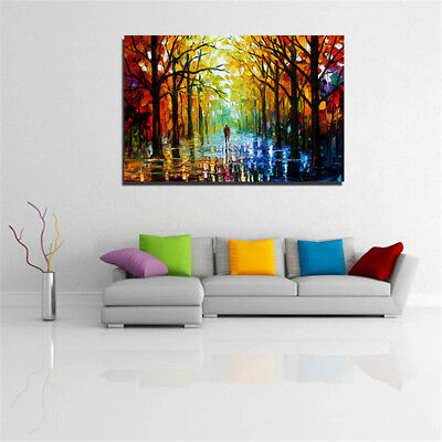 1 PC Frameless Huge Wall Art Oil Painting On Canvas Forest Road Home Decor