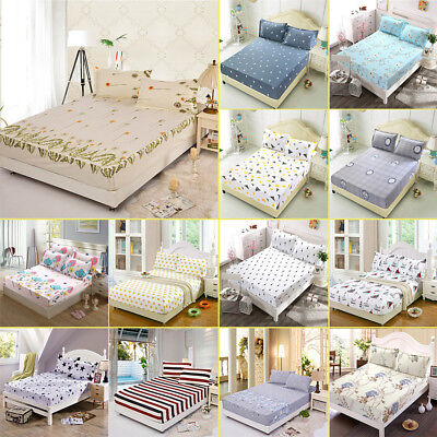 Floral Fitted Sheet Cover Twin Full Queen Cotton Bed Sheet Coverlet & Pillowcase