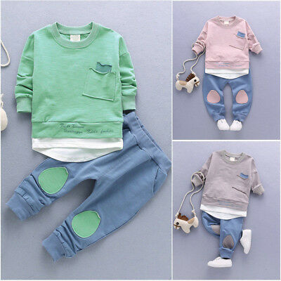 Autumn for Newborn Baby Boys Kids T-shirt Tops+Pants Leggings Outfit Clothes Set