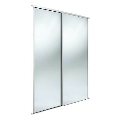 Value sliding wardrobe door twinpack. 3mm silver mirror/ white frame/trackset