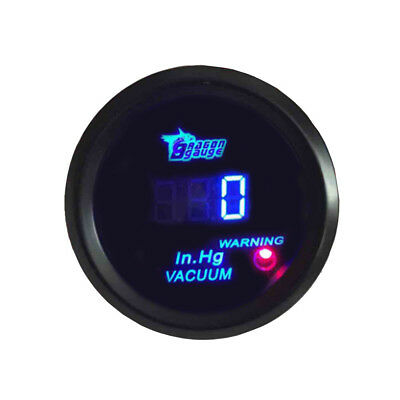 "2"" 52mm Black Car Motor Digital Blue LED Vacuum LED Gauge Meter HY"