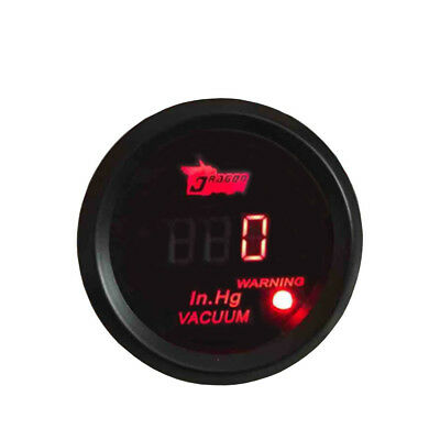 "2"" 52mm Black Car Motor Digital Red LED Light Vacuum Gauge Meter HY"