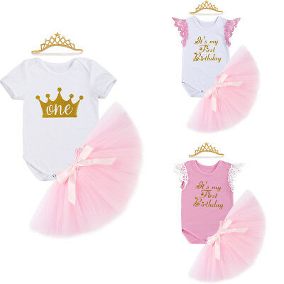 Baby Girl Princess Crown Headband +Romper +Tutu Skirt 1st Birthday Party Outfits