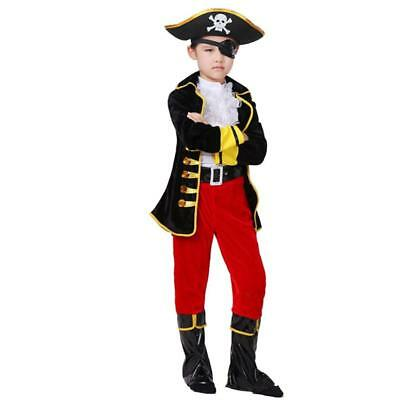 CHILDS PIRATE COSTUME OUTFIT - book week-halloween boys kids fancy dress s]