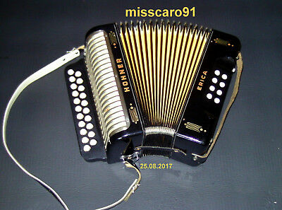 Rare Black Germany  Diatonic Hohner Erica  Button  Accordion  + New Gigbag