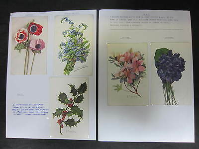 Vintage Collection Of 5 Mounted Wwi Sweetheart Cards