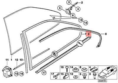Genuine BMW E36 Coupe Window Seal-Vent Right OEM 51368119964