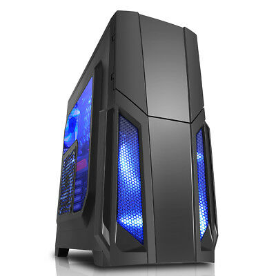 CIT Storm Black Gaming PC Mid Tower ATX Case 1 x 12cm Blue LED Front Fan USB 3.0