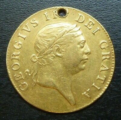 1813 George III Military Issue Gold Guinea Holed Rare