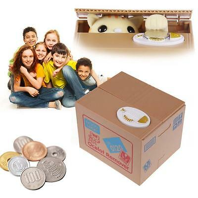 Yellow Cat Automated Stealing Coins Money Box Piggy Bank Storage Saving Boxes YY