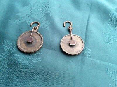 2 x 18th 19th century longcase grandfather clock brass and steel pulley pulleys
