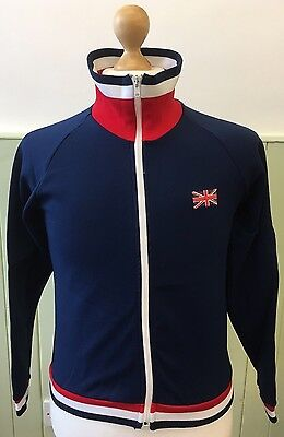 Vintage 1970s unisex St Michael zip up tracksuit top UK British flag logo SMALL