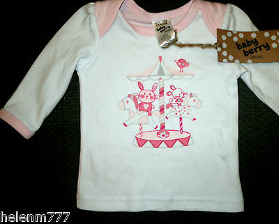 New Baby Girls Size 000 0 - 3M Organic Cotton Long Sleeve Pink Roundabout Tee