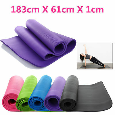 Yoga Mat 10/15mm Gym Exercise Fitness Physio Pilates Mats Non Slip Carrier POP