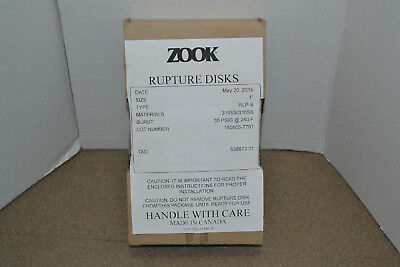 "Zook 1"" Rupture Disks, Type RLP-S, Material 316SS, Burst 30 PSIG @ 260F"