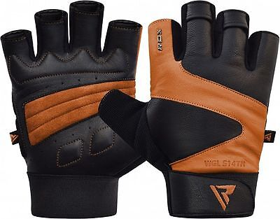 RDX Leather Weight Lifting Gym Training Gloves Strap Fitness Workout  Large