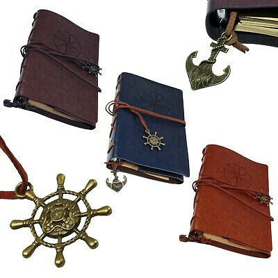 2 Faux Tan /& Blue Leather Pirate Maritime Sea Compass Journal Note Book Memo Pad