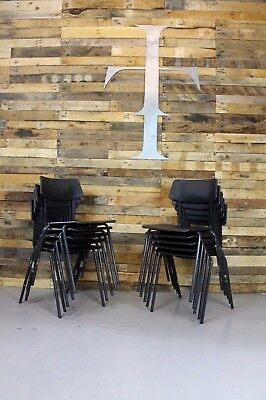 10 x Vintage Industrial Mid Century Pel Former Series Adult Stacking Chairs