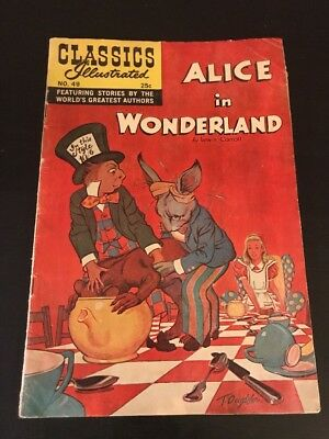 Classics Illustrated Comic Book #49 HRN 166 ALICE IN WONDERLAND  - Lewis Carroll