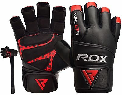 RDX Leather Weight Lifting Gloves Gym Training Workout Body Building Straps L