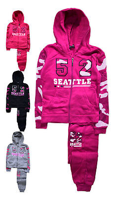 Girls Tracksuit New Kids Hooded Camo Zip Jumper Jogger Set Ages 2 - 10 Years