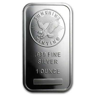 Lingot SUNSHINE MINT 1 Once d'argent pur 999 / 1 Troy Ounce Oz Fine Silver Bar