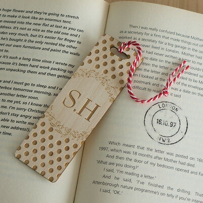 Personalised wooden bookmark. Floral polka dot design add your initials L173