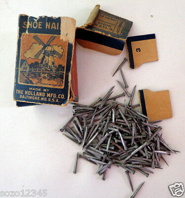 """Vtg Corrugated Shoe Nails 5/8"""" made by Holland Mfg. Co. Baltimore MD"""